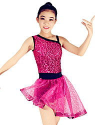 Latin Dance Dresses Women's / Children's Performance Spandex / Polyester / Organza / Sequined Paillettes / Sequins 1 Piece Sleeveless