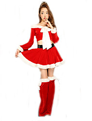 Cosplay Costumes Santa Suits Movie Cosplay Red Solid Top / Skirt / Hats Christmas Female Polyester