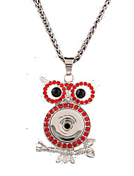 Rhinestone Pendant Chain Necklaces /  Party / Daily / CasualAnimal Design Owl/ DIY Ginger Snap Button Jewelry Charm China Necklace