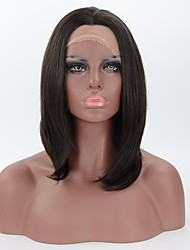 Medium Length Synthetic Lace Front Wigs Heat Friendly Natural Looking Straight Black Wig