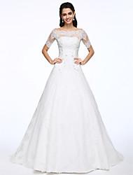 Lanting Bride® Trapèze Robe de Mariage  Deux Pièces Traîne Tribunal Epaules Dénudées Dentelle / Satin avec Appliques / Perlage / Bouton