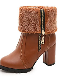 Women's Boots Winter Comfort Multi-way Thick Warm Dress / Casual Chunky Heel Zipper Black / Brown