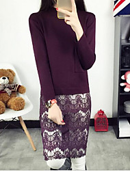 Women's Casual/Daily Simple Sheath / Lace Dress,Solid Turtleneck Knee-length Long Sleeve Pink / Black / Gray / Purple Cotton / Acrylic
