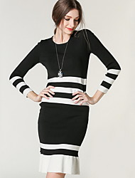 Women's Going out / Casual/Daily Simple / Cute Sweater Dress,Striped Round Neck Knee-length Long Sleeve Black Acrylic Fall Mid Rise