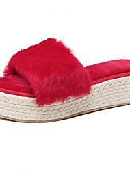 Women's Slippers & Flip-Flops Fall / Winter Slingback Fur Casual Platform Black / Red Others