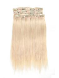 9pcs / set grampo em extensões do cabelo platium cabelo humano de 16 polegadas 20 polegadas 100% reta loira para as mulheres