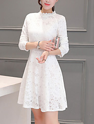 Women's Slim Velvet chic A Line / Lace Dress Solid Stand Mini Long Sleeve Pink / White / Black Polyester Spring Mid Rise
