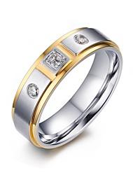 Женский Массивные кольца Цирконий Мода Pоскошные ювелирные изделия бижутерия Нержавеющая сталь Циркон Цирконий Позолота Бижутерия