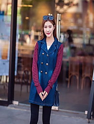 Women's Casual/Daily Simple Denim Jackets,Solid Shirt Collar Long Sleeve Spring / Fall Red / Black Cotton Medium