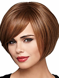 Bob Short Curly Brown Synthetic Wigs for Women Side Bang Cheap Cosplay Wig Hair