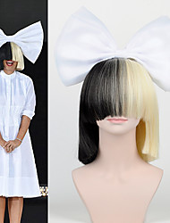 le nouvel arc de cheveux mis frange longue moitié noir perruques moitié blond sia style du parti haut - fin filet grand arc blanc