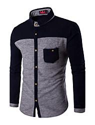 Мужчины На каждый день / Офис / Большие размеры Зима Рубашка Классический воротник,Простое Контрастных цветов Синий / Серый Длинный рукав,