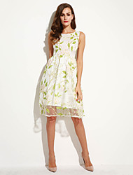 Women's Going out Street chic A Line Dress,Print Round Neck Midi Sleeveless Green Polyester Summer