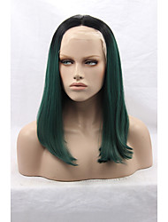 Layered Synthetic Lace Front Black Mixed Green Wig Heat Resistant Natural Medium Cheap Green Wigs High Quality