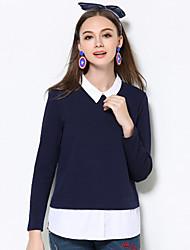 Feminino Camiseta Casual / Tamanhos Grandes Simples Outono / Inverno,feito à mão Azul Algodão / Poliéster / Elastano Colarinho de Camisa