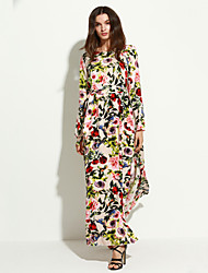 Women's Casual/Daily Vintage / Boho Slim Sheath Dress,Floral Round Neck Maxi Long Sleeve