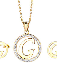 Kalen New Design 18K Gold Plated Stainless Steel Capital Letter G Pendant Necklace And Earrings Jewelry Sets For Women Cheap Gifts