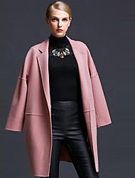 Damen Solide Einfach Lässig/Alltäglich Mantel,Herbst Gekerbtes Revers Langarm Rosa / Rot / Grau Mittel Wolle
