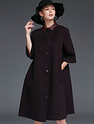 Xuanyan Women's Casual/Daily Simple CoatSolid Shirt Collar Long Sleeve Winter Gray / Green / Purple Wool