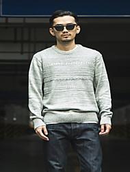 Men's Casual/Daily Simple Regular Cardigan,Solid Black / Gray Round Neck Long Sleeve Cotton Spring / Fall Medium Micro-elastic