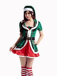 Fantasias de Cosplay Ternos de Papai Noel Cosplay de Filmes Verde Cor Única Vestido / Cinto / Chapéu Natal Feminino Poliéster