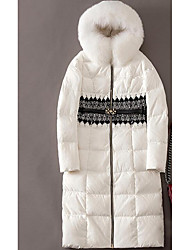 Women's Long Down Coat,Cute Going out Solid-Polyester White Duck Down Long Sleeve White / Black