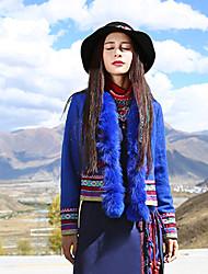 Feminino Jaqueta Casual Boho Inverno,Bordado Azul Lã / Poliéster Decote V-Manga Longa