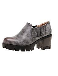 Damen-High Heels-Outddor / Büro / Lässig-PU-Blockabsatz-Komfort-Gelb / Rot / Bronze / Dunkelgrau