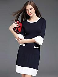 Feminino Reto Vestido,Casual Simples Colorido Decote Redondo Acima do Joelho Meia Manga Azul Poliéster Outono Cintura Média Micro-Elástica