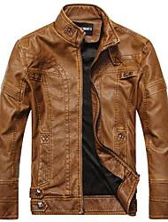 男性 カジュアル/普段着 ソリッド レザージャケット,シンプル ブラック / ブラウン / イエロー ポリウレタン 長袖