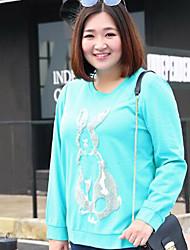 Sweatshirt Femme Grandes Tailles Décontracté / Quotidien simple Broderie Col Arrondi Micro-élastique Coton Polyester Manches Longues
