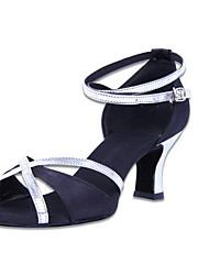 Non Customizable Women's Dance Shoes Satin Latin Sandals Low Heel Practice Orange Black/Silver Blue
