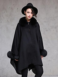 Women's Casual/Daily Simple Coat,Solid Round Neck Long Sleeve Fall / Winter Black Wool Medium