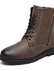 Men's Boots Winter Comfort PU Casual Flat Heel Lace-up Black Khaki