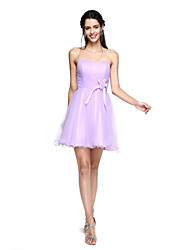 2017 Lanting Bride® Mini Me  Bridesmaid Dress - A-line Sweetheart Short / Mini Tulle with Flower(s) / Draping / Ruching