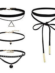 4pcs/set Black Tatoo Style Choker Necklace Jewelry Set