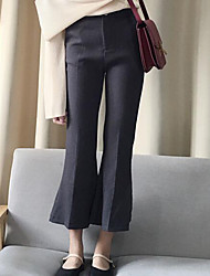 Women's Loose Chinos Pants,Casual/Daily Simple Solid Mid Rise Button Cotton Micro-elastic Fall / Winter