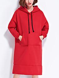 Feminino Bainha Vestido, Casual Fofo Sólido Com Capuz Acima do Joelho Manga Longa Vermelho / Preto Algodão Outono / Inverno Cintura Alta