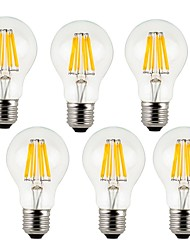 8W E26/E27 LED žárovky s vláknem A60(A19) 8 COB 800 lm Teplá bílá / Chladná bílá Ozdobné AC 220-240 V 6 ks