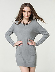 Women's Going out / Casual/Daily Simple / Cute Sweater Dress,Solid Round Neck Knee-length Long Sleeve Red / Gray Cotton Spring / FallMid