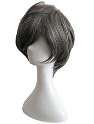 Capless Short Side Bang Synthetic Wigs for Men Grey Heat Resistant with Free Hair Net