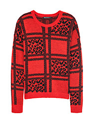 Metersbonwe  Women's Casual/Daily Street chic Regular PulloverJacquard Red Round Neck Long Sleeve Acrylic Winter Thick Micro-elastic