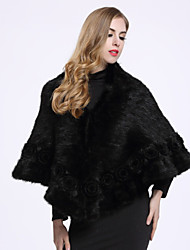 BF-Fur Style Women's Casual/Daily Sophisticated Fur CoatSolid Shirt Collar  Sleeve Winter Black Others