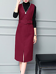 Women's Casual/Daily Simple Fall T-shirt Skirt Suits,Solid Crew Neck Long Sleeve Micro-elastic
