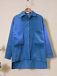 Feminino Camisa Social Bandagem / Formal estilo antigo / Moda de RuaSólido Azul Algodão Colarinho de Camisa Manga Longa