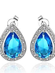 Earring Imitation Sapphire / AAA Cubic Zirconia Stud Earrings Jewelry Women Wedding / Party / Daily / CasualZircon / Rhinestone / Gold
