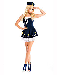 Cosplay Costumes Party Costume Career Costumes Sailor/Navy Festival/Holiday Halloween Costumes White Blue Print Dress HatHalloween
