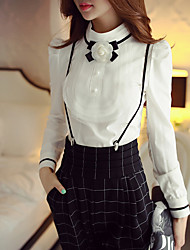 Feminino Camisa Social Casual / Formal / Festa/Coquetel estilo antigo / Fofo / Sofisticado Primavera / Outono,Sólido / Estampa Colorida