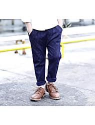 Menino Calças Casual Listrado Outono Algodão