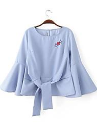 Feminino Blusa Para Noite / Casual Simples / Fofo Todas as Estações,Listrado / Bordado Azul / Branco Raiom / Poliéster Decote Redondo